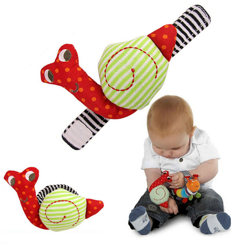 2pcs Soft Mobile Baby Toys Wrist Strap Snail Baby Rattle Plush Educational Toddler Toys Voice Shaker Cute Gift For Newborn Baby