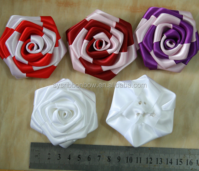 Colorful Make Satin Ribbon Flowers For Cloth - Buy Make Satin Ribbon ...
