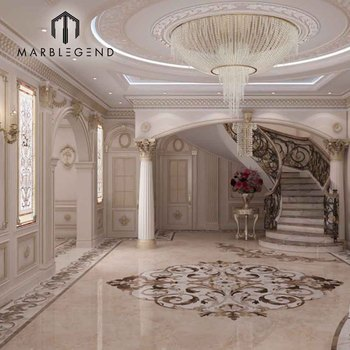 Chinese supplier home entrance flooring decorative water jet marble floor medallion designs