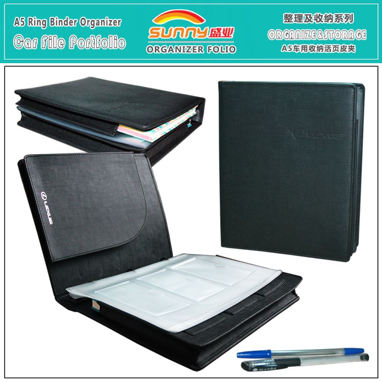 A5 Black Pu Leather 3 Ring Binder Presentation Portfolio Folder ...