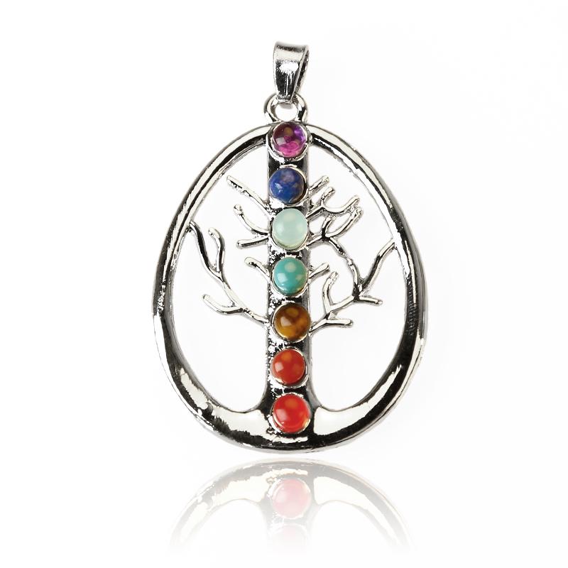 Gemstone Chakra Bead Tree Pendant Of Life