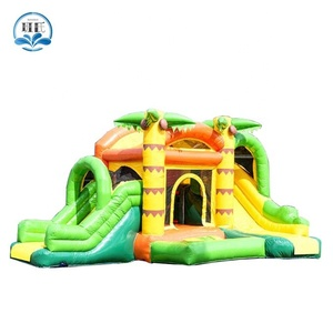 coconut trees commercial kids yard bounce castle jumping bouncy house Inflatable combo bouncer for sale
