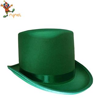 a9ab3790def46 PGH1924 St. Patricks Day Chapéu Verde de Cetim Superior com Banda Adulto  Traje Leprechaun Hat