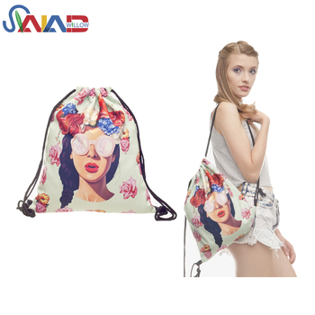 Outdoor calico printed polyester school backpack drawstring bag