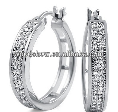 925 sterling silver cubic zircon hoop earrings for men