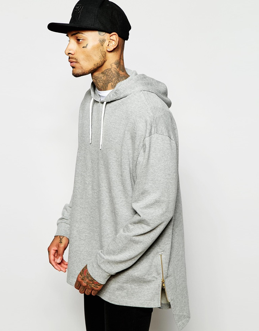 Longline Oversized Supreme Hoodie With Stepped Hem And Zips Design ...
