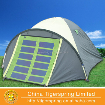 Solar Tent With Fan And Light With Detachable Solar Panel