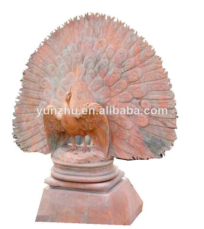 The Lager Outdoor Marble Stone Animal Sculptures Of Peacock ,garden  Decoration Stone Animal Carving