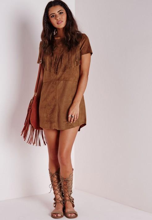 a5477bd2bde983 Korte mouw tan bruin faux suede kwastje franje mode jurk dames bruine  franje jurk