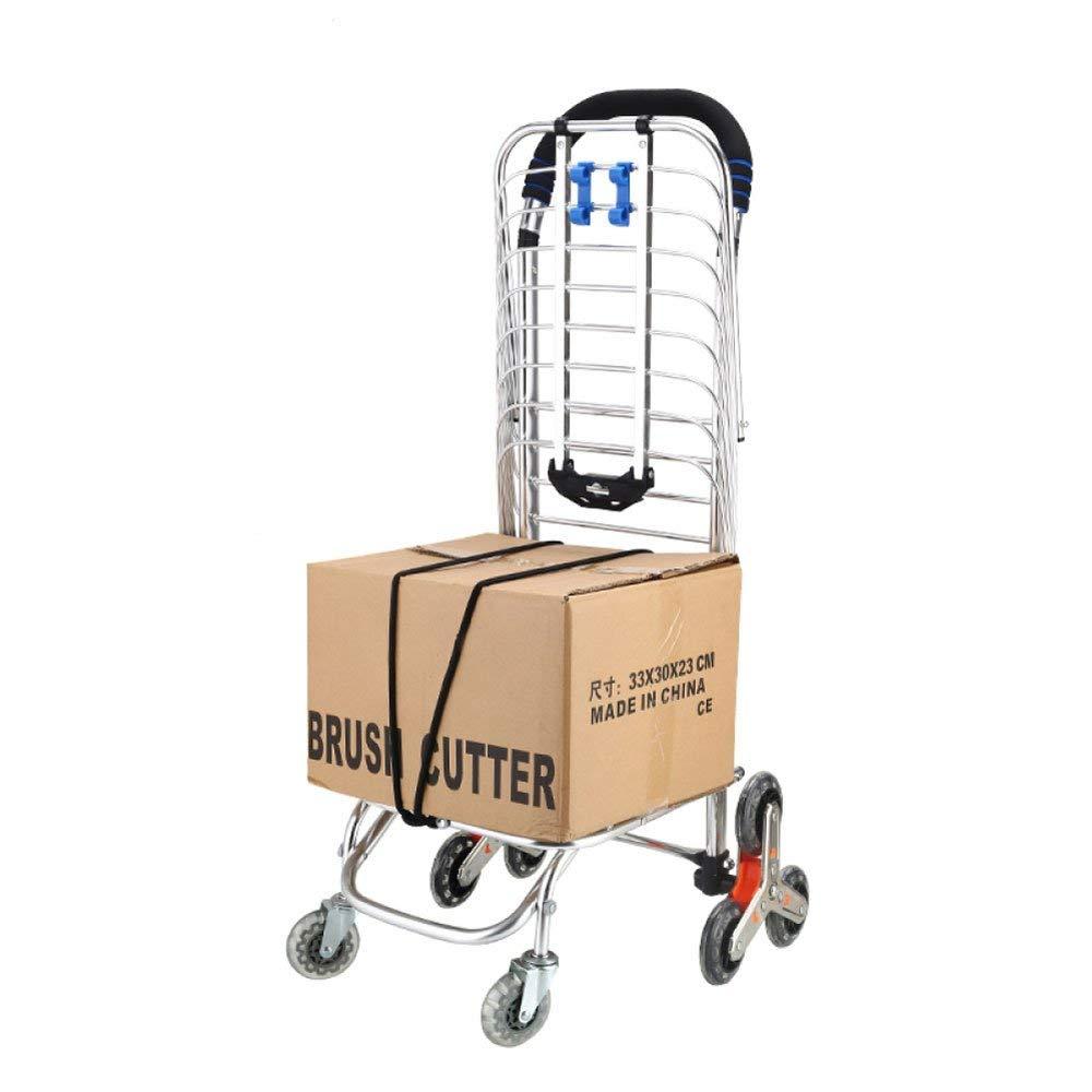 NQFL Shopping Trolleys Shopping Cart Trolley Shopping Blue Small Cart Climbing Stairs Folding Portable Shopping Cart,Silver-453095cm