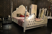 Luxury Upholstered Canopy Bed with Night Stands