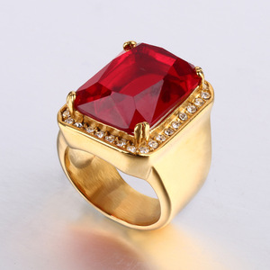 Ali Express Hot Styles Stainless Steel Material Gold Plating High Polishing Micro Zirconia Ladies Red Stone Ring