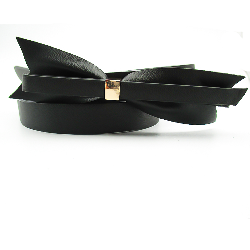 latest lady fashion skinny pu bow belt