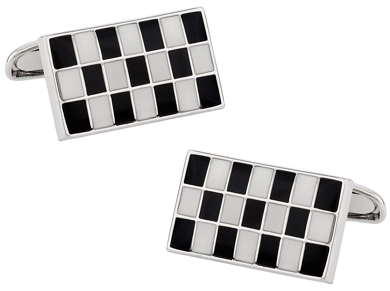 Cuff-Daddy Versatile Enamel Black & White Rectangular Cufflinks with Presentation Box
