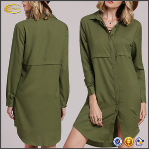 Ecoach Wholesale long sleeve Lapel Buttons down open Army green women long shirt dresses shirt dresses women