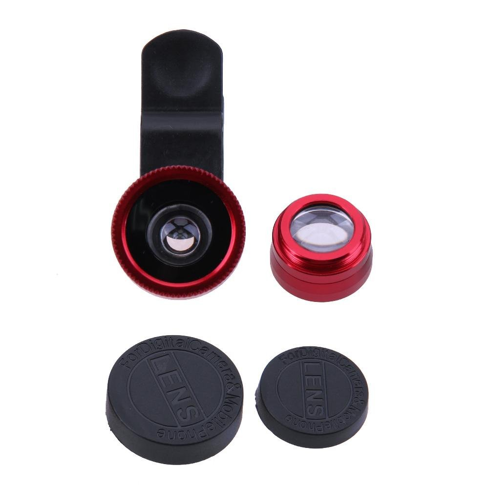 UniHappy 3 in 1 Fish Eye+ Wide Angle+ Macro Camera Lens Kit for Phone (Red)