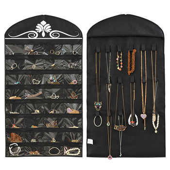 Jewelry Hanging 32 Pockets 18 Hook and Loops Wall Jewelry Organizer