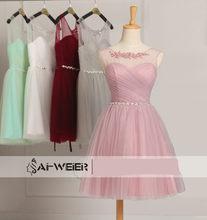 Платье подружки невесты мятно-зеленого цвета, короткое фатиновое платье бордового цвета с бисером для подростков, элегантное вечернее плат...(Китай)