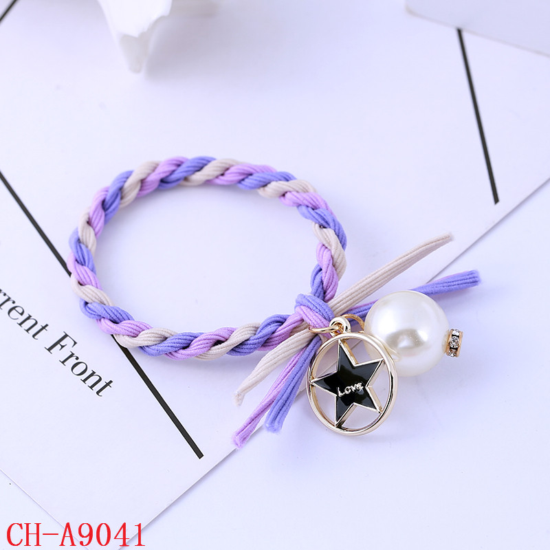 flat elastic cord candy color spiral ladies hair band with pearl beads