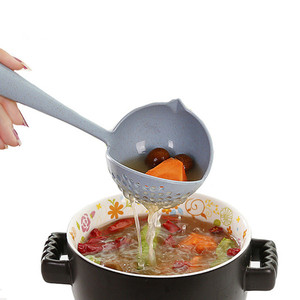 2018high quality 2 in 1 multifunctional wheat straw hot pot spoon creative soup colander spoon
