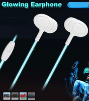 wholesale factory price cheap popular glowing luminous 3.5mm earphone headphone headset
