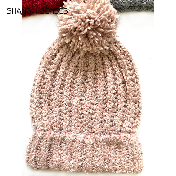 wholesale custom ladies polyester knitted loop pom pom solid color warm winter thick beanie hat cap