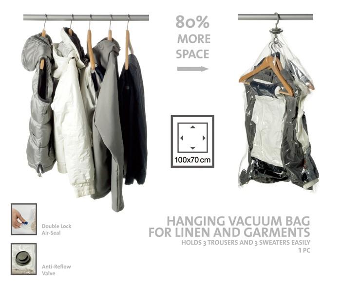 Hanging Plastic Bag Hanger Garment Vacuum Storage For Dresses