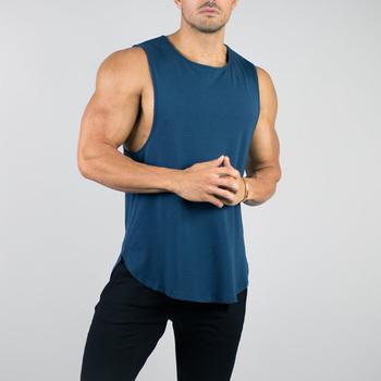22347e1735 Custom made training clothing fitness wear sleeveless scoop bottom tank  tops men's sports gym vests