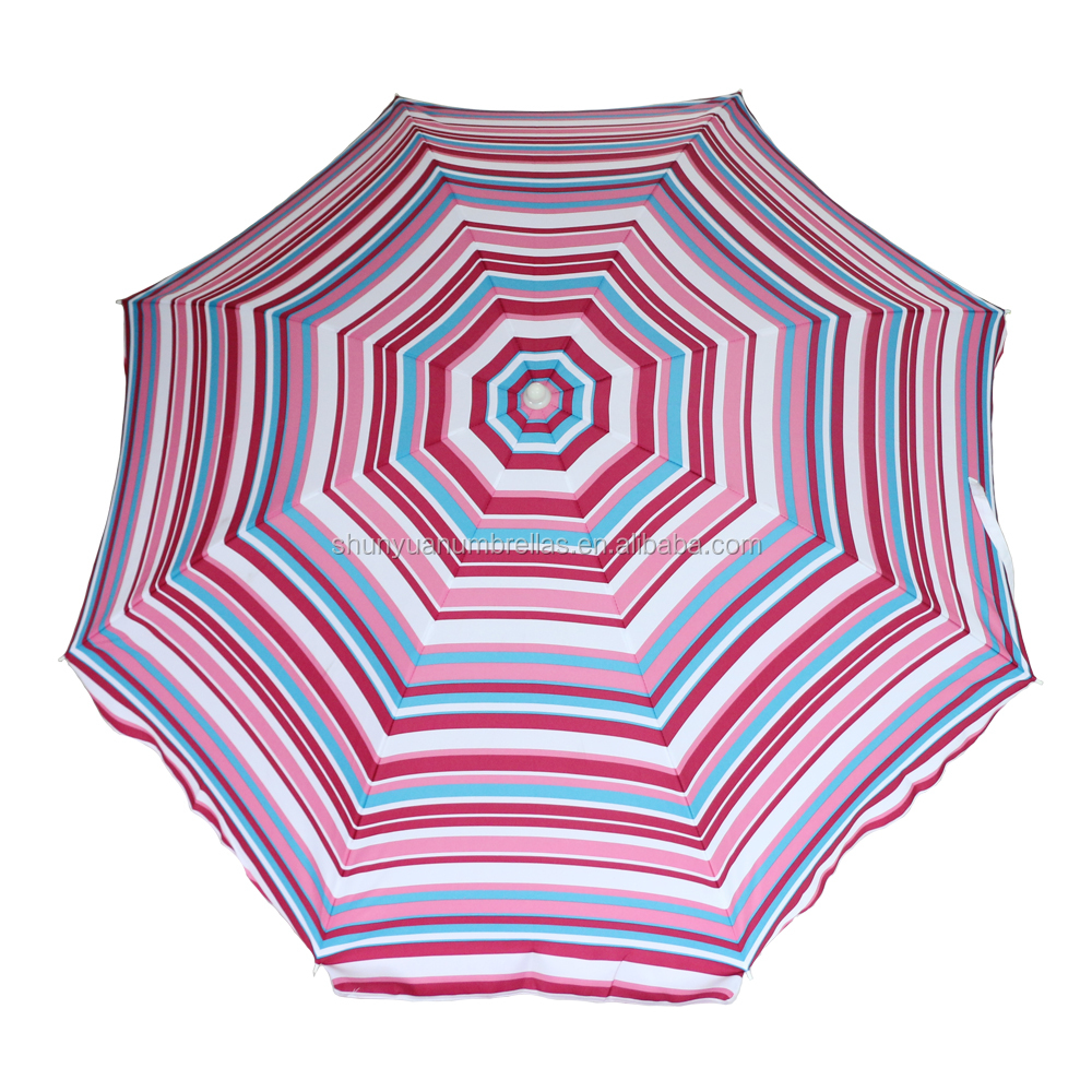 6.5ft color stripe printed patio outdoor beach umbrella for seaside