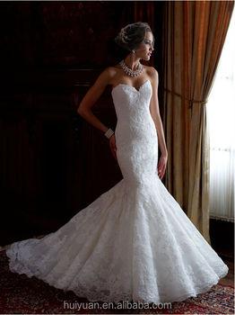 Sexy Full Lace Mermaid Strapless Bling White Wedding Dress Buy