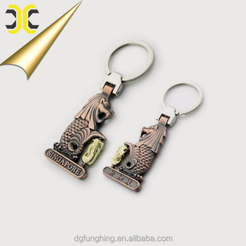 Custom metal merlion keychain singapore souvenir