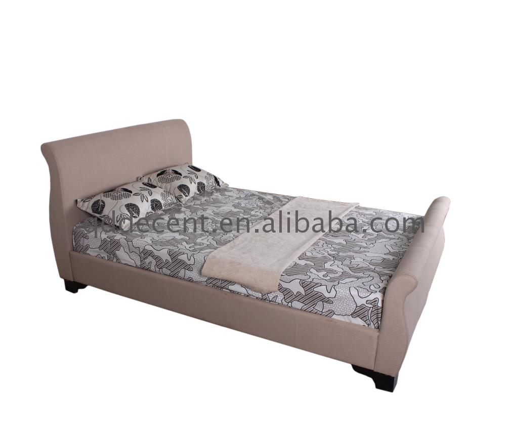 Custom made platform fabric sleigh bed modern for home use