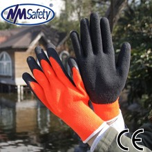 NMSAFETY foam latex glove 10 gauge orange nappy acrylic liner knitted winter glove
