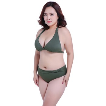 92ac8db891 Solor color fat women swimsuit plump ladies padded sexy big plus size bikini