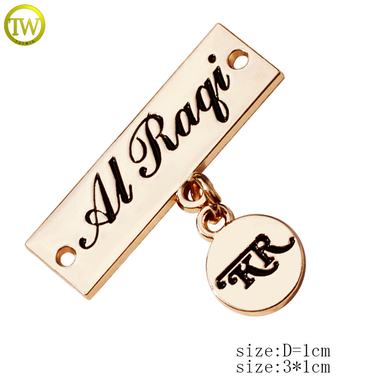 Custom garment metal logo tag with chain for garment accessories
