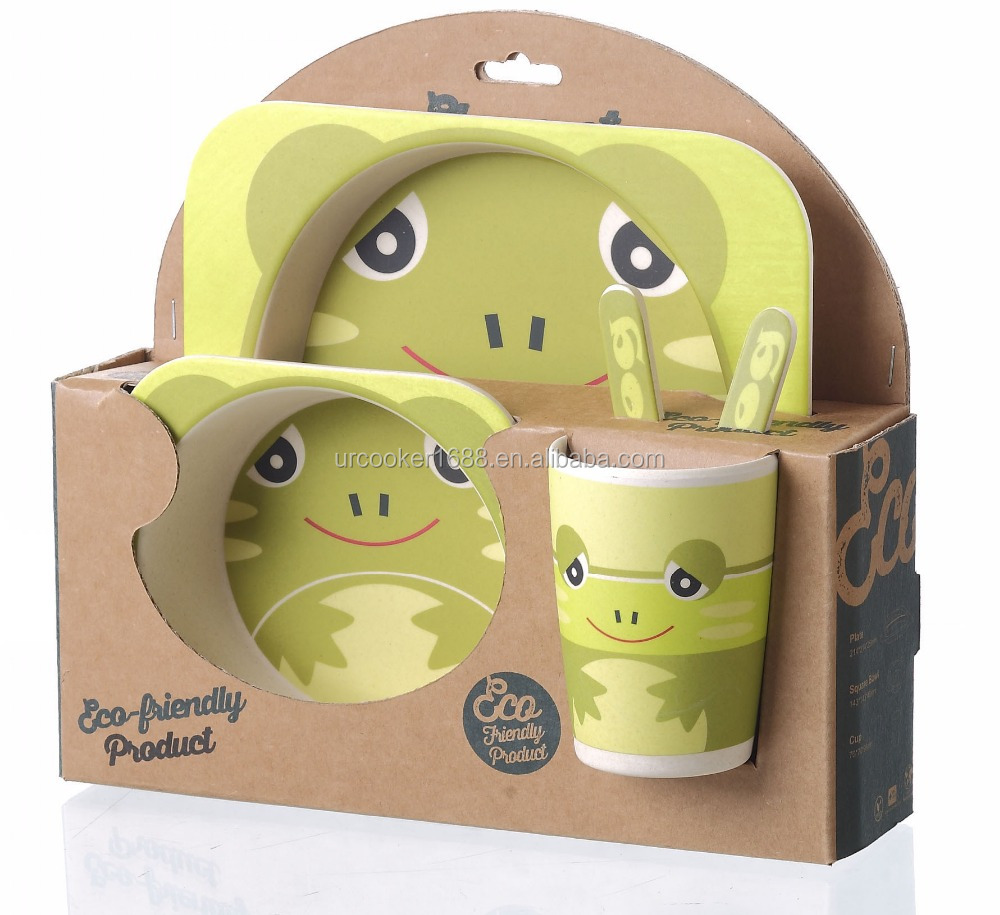 Lovely High Quality Bamboo Fiber 5 Piece Kids Tableware Set Dinner Set For Baby