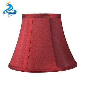 Red Silk Round Drum Lamp Shade