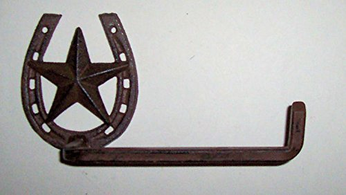 """""""ABC Products"""" - Heavy Cast Iron - """"L"""" Shape Towel Holder - With a Horse Shoe Mounting - """"Lone Star"""" In The Middle - Or Toilet Tissue Holder - Wall Hung - (Dark Bronze Finish - Aged Old Work Design)"""