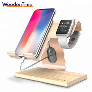 Multi-function desktop stand desk organizer wooden smartphone mobile phone charging docking station for iPhone and smart