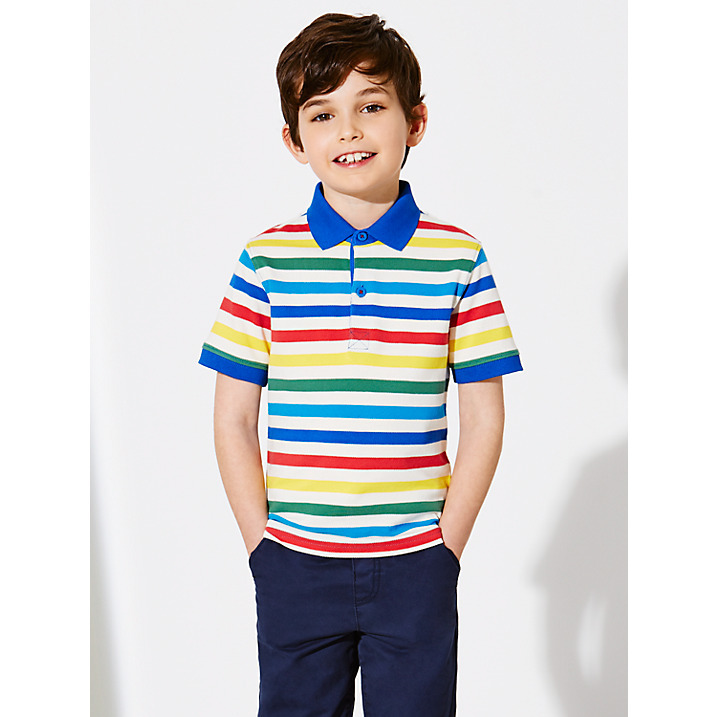 fd4ee3d15 100% Cotton Pique Chidren Boys Striped Rugby Polo Shirts / Short Sleeve PK  Summer Rugby