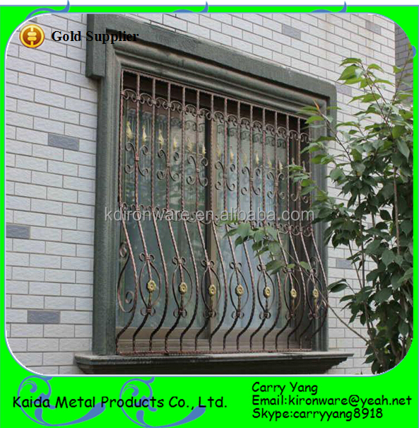 Home wrought iron window grill designs color buy window for Window design of iron