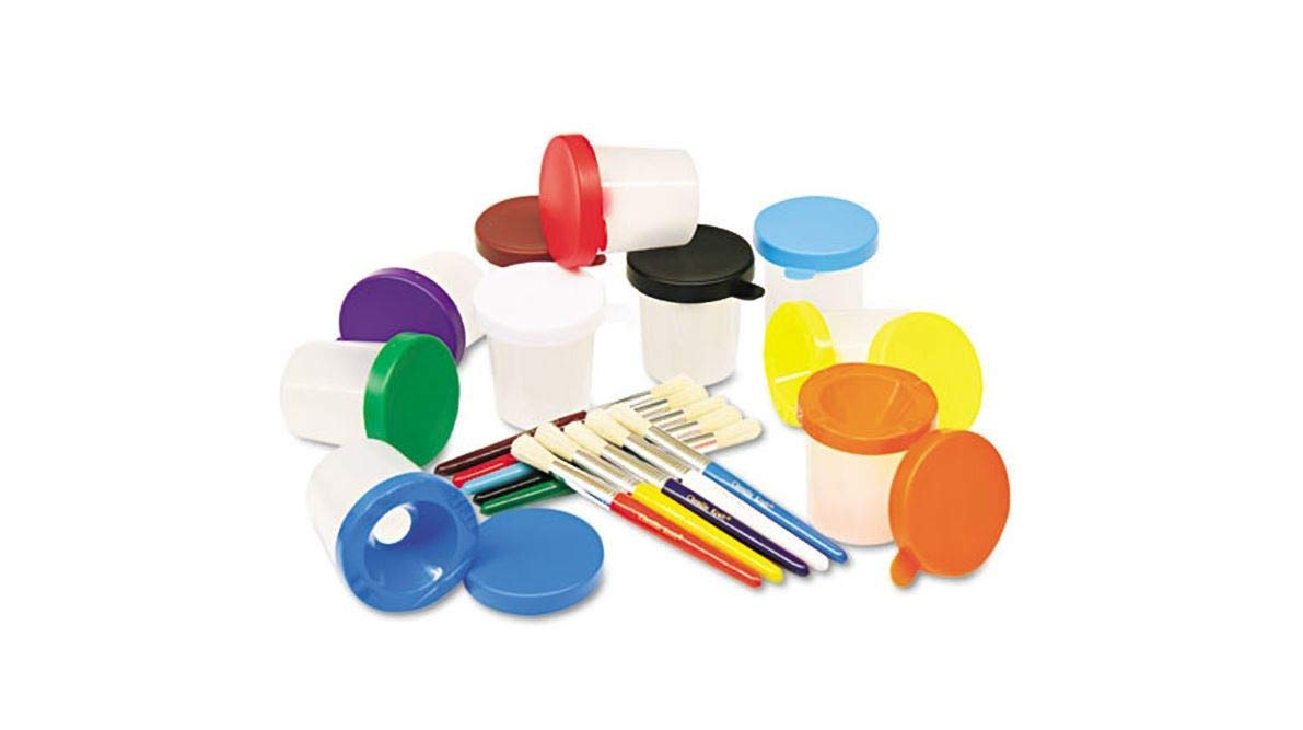 No-Spill Cups & Coordinating Brushes, Assorted Colors, 10/Set Comfyleads