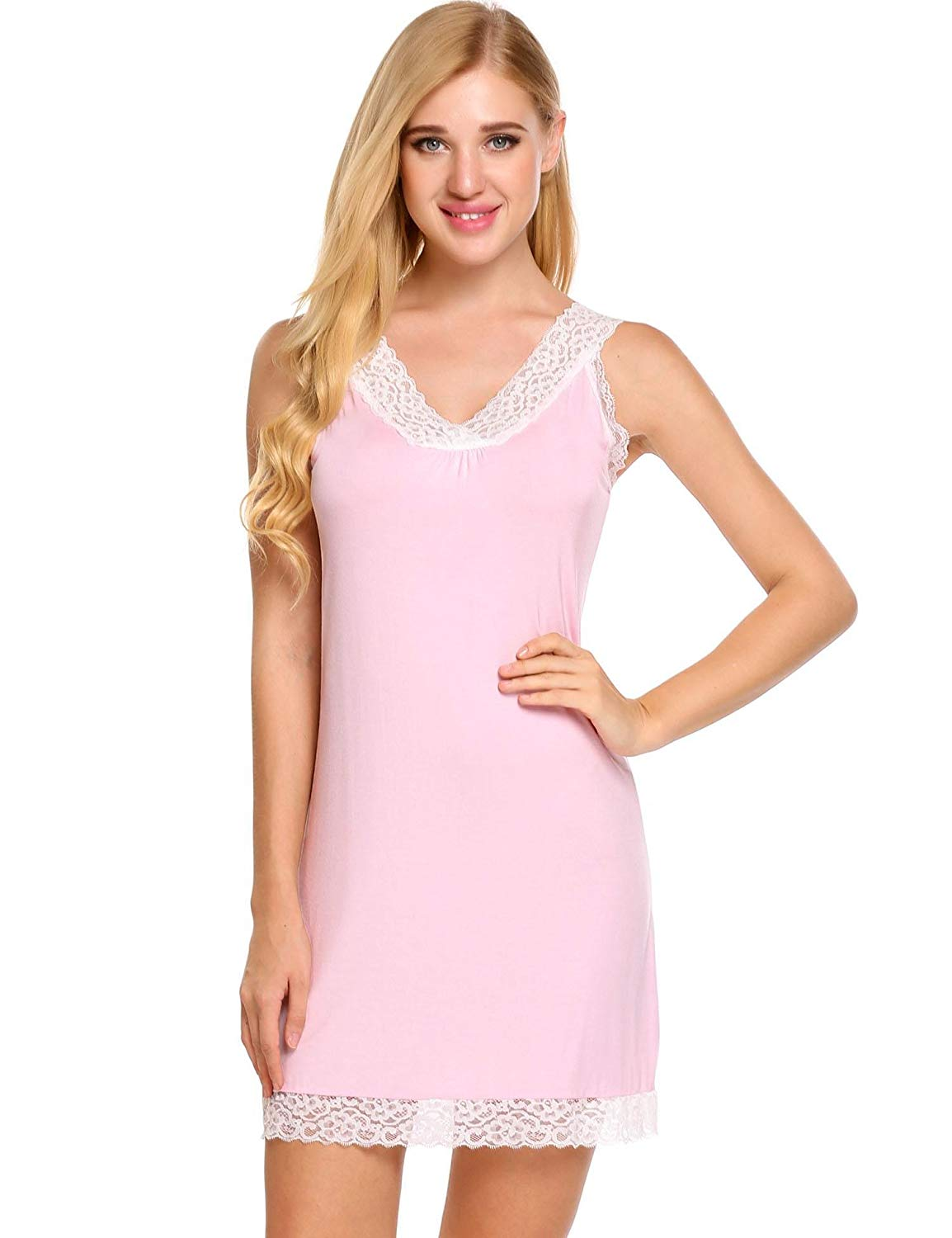 Get Quotations · Avidlove Womens Sexy Chemise Lace Straps Slip Nightgown Full  Slip Babydoll Dress 588c46e81