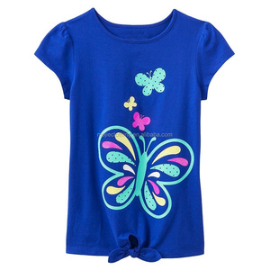 2017 children clothing baby shirt custom printing kids t shirt, OEM and OCM kidswear, little gilr tshirt with print and front ti