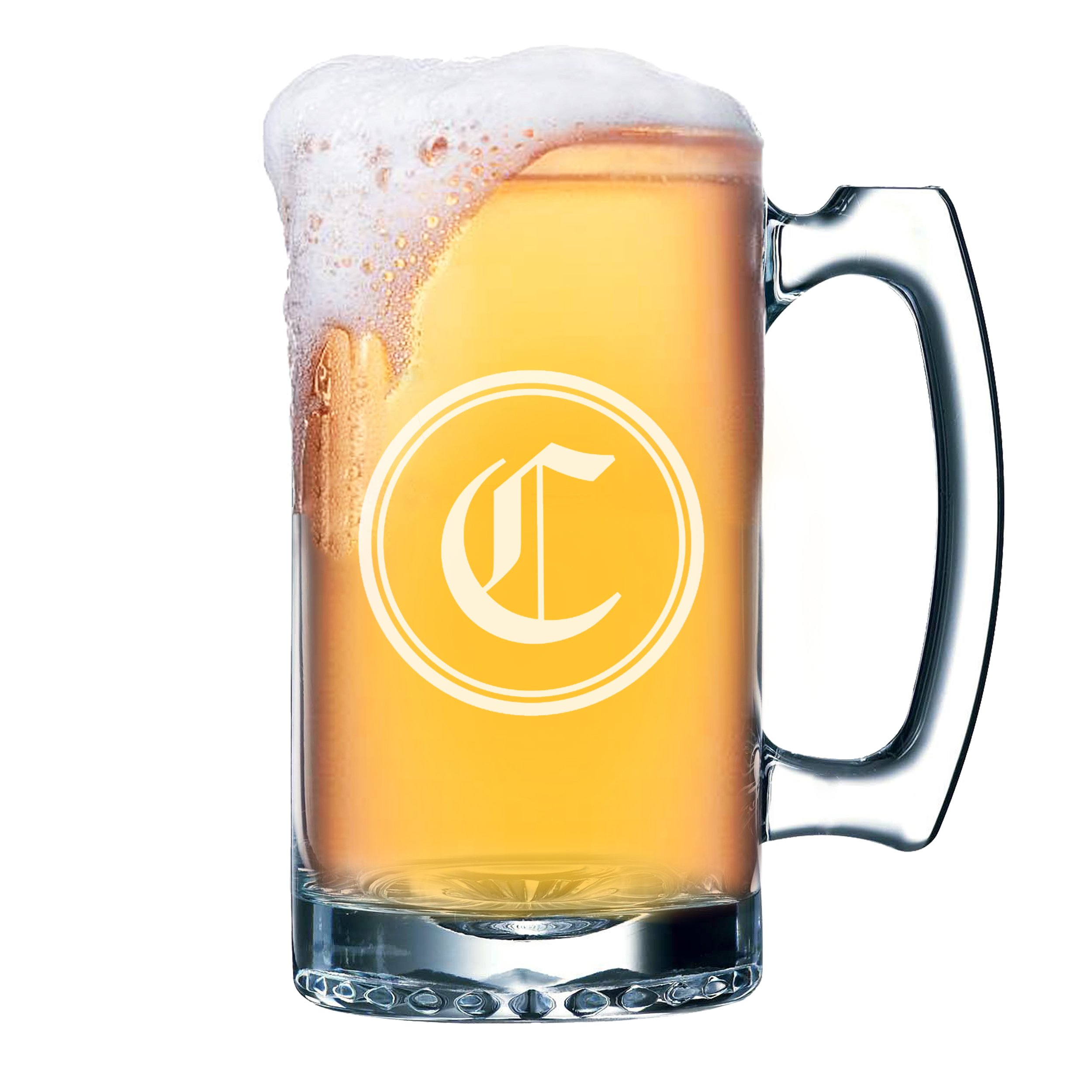 Wedding Party Beer Mugs - Custom Engraved Personalized Groomsmen Beer Glasses Gifts - 25 oz (Circle Initial Style - 25 oz)