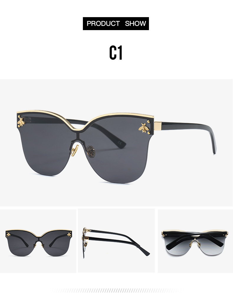 China Manufacturer New 2018 UV400 Luxury High Quality Rimless Trendy Italy Designer Oversized Big Size Metal Temples Sunglasses