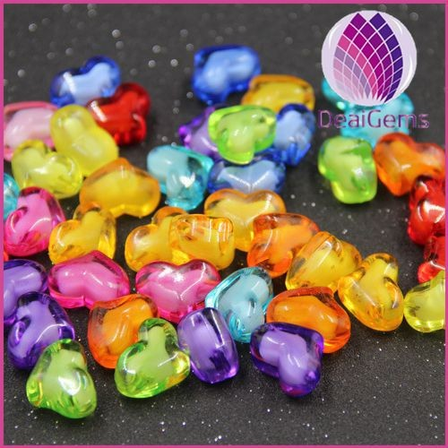 8mm 10mm 12mm 14mm 20mm miracle mix color heart acrylic loose beads