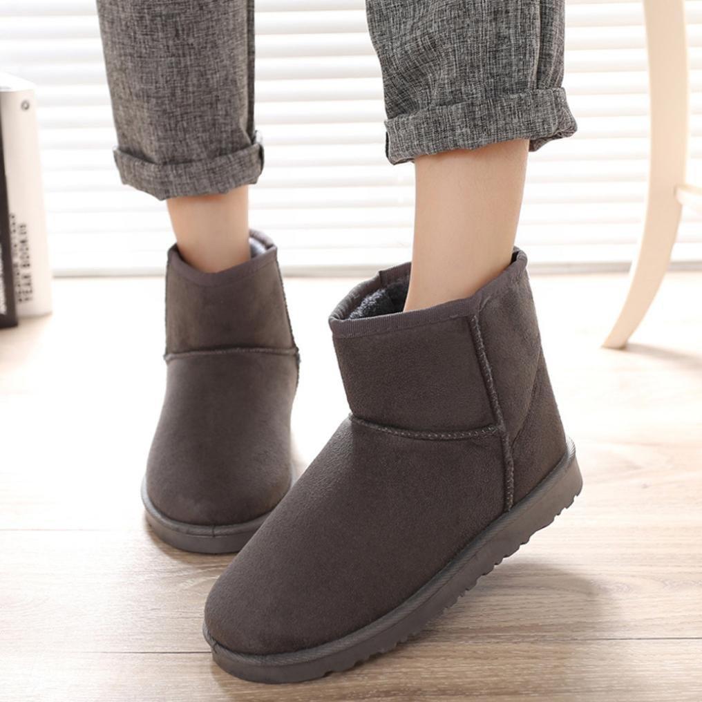 Tenworld Winter Warm Snow Boot Indoor Outdoor Slipper Boots For Women (6, Gray)