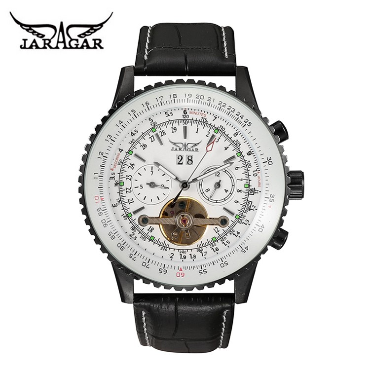 jaragar original brand men luxury genuine leather band tourbillon self wind mechanical fashion skeleton automatic classic watch