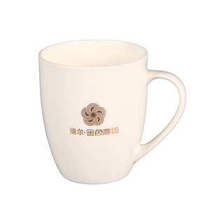 advertising custom printed golden logo on mug porcelain 15oz
